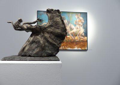 """""""vom morgenden Rot ..."""", Ton gebr. für Alu oder Bronze patiniert, H/B/T,  ca. 40/46/15, 2014"""